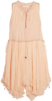 Chloé Pleated Silk-gauze Dress