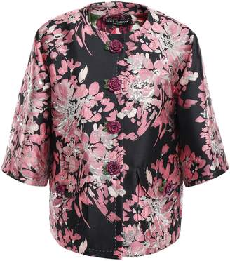 Dolce & Gabbana Floral-appliqued Metallic Brocade Jacket