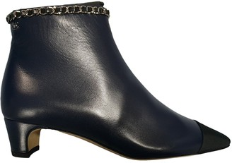 Chanel Navy Leather Ankle boots