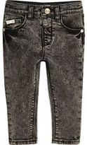 River Island Mini boys black acid wash skinny jeans
