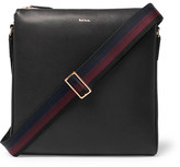 Paul Smith Webbing-trimmed Full-grain Leather Messenger Bag - Black