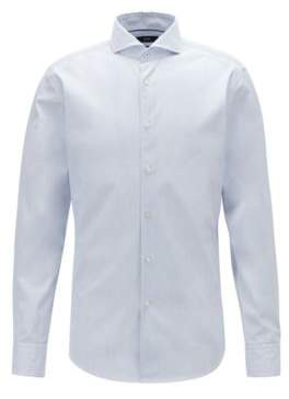 BOSS Slim-fit shirt in dobby cotton with spread collar