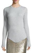 IRO Serena Ribbed Wool Top, Pearl Gray