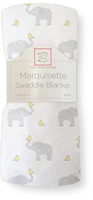 Swaddle Designs Marquisette Swaddling Blanket, Premium Cotton Muslin, Elephant & Chickies, Pastel Yellow