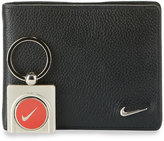 Nike Leather Wallet with Ball Marker Key Chain, Black
