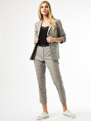 Dorothy Perkins Check Ruched Sleeve Blazer- Grey
