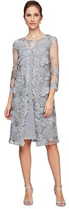 Alex Evenings Short Embroidered Elongated Mock Jacket Dress (Dove) Women's Dress