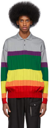 Issey Miyake Multicolor Wrinkle Knit Polo