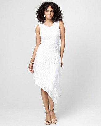 Le Château Crochet Knit Asymmetrical Midi Dress