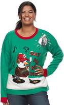 It's Our Time Its Our Time Plus Size Juniors' Plus Light Up Snowman DJ Sweater
