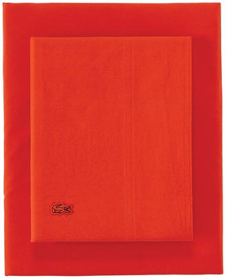 Lacoste Twin Washed Percale Sheet Set - Fiesta
