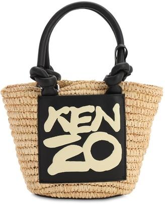 Kenzo MINI RAFFIA & FAUX LEATHER BUCKET BAG