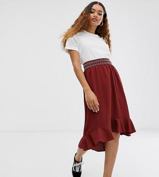 Vero Moda Petite smocked embroidered skirt