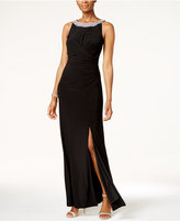 Alex Evenings Embellished Ruched Slit Gown