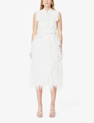 Huishan Zhang Wyatt tweed-print feather-embroidered woven gilet