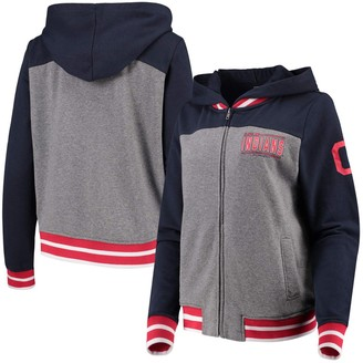 New Era Women's Gray/Navy Cleveland Indians French Terry Full-Zip Hoodie