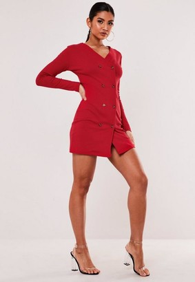 Missguided Red Rib Double Breasted Mini Dress