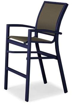 """Telescope Casual Kendall 26"""" Patio Bar Stool Telescope Casual Frame Color: Textured Snow, Seat Color: Beacon, Size: 43.5"""" H x 26.5"""" W x 26.5"""" D"""