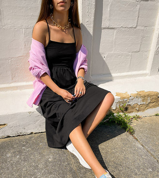 Collusion jersey maxi tiered cami dress in black