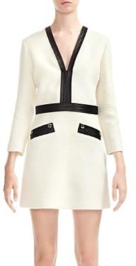 Maje Remma Faux-Leather Trimmed Tweed Dress