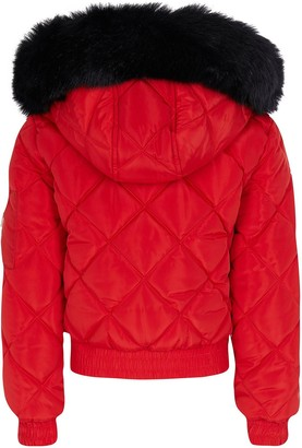 River Island Girls Matte Quilted Bomber Jacket-Red
