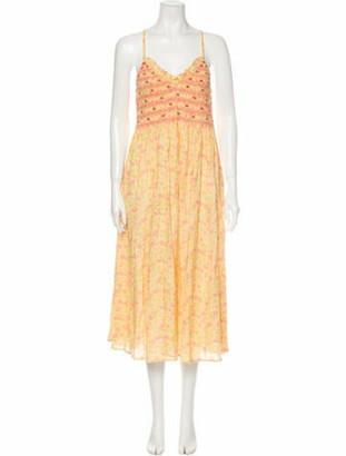 LoveShackFancy Floral Print Midi Length Dress Yellow