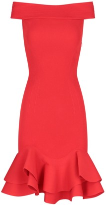 Alexander McQueen Off The Shoulder Knit Mini Dress