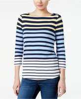 Charter Club Button-Shoulder Printed Top, Only at Macy's