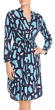 Nic+Zoe Vivid Giraffe Tie-Waist Shirt Dress