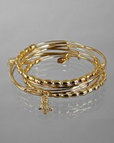 set of 5 - gold oval beaded and owl charm bangles