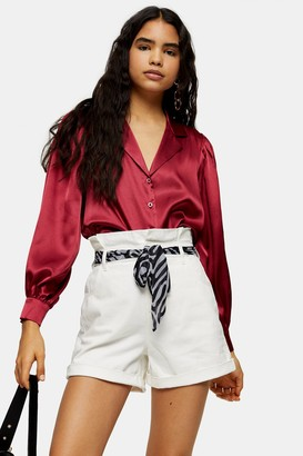 Topshop Womens White Denim Paperbag Shorts With Scarf Belt - Ecru