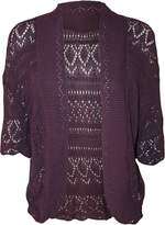 FashionMark Women's Plus Size Crochet Knitted Short Sleeve Cardigan (Wine)