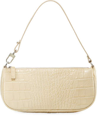 BY FAR Rachel Small Croc-Embossed Shoulder Bag