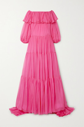 Valentino Off-the-shoulder Tiered Ruffled Silk-chiffon Gown - Pink