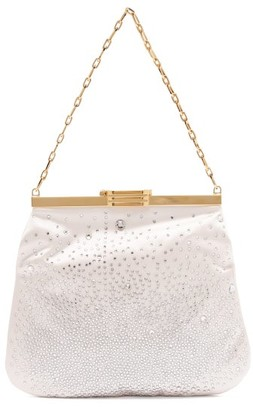 BIENEN-DAVIS 4am Crystal & Satin Clutch Bag - Ivory