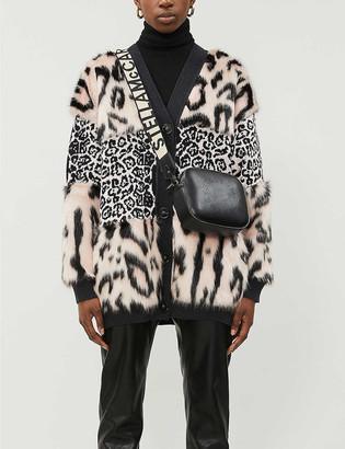 Stella McCartney Leopard-print faux-fur panel knitted cardigan