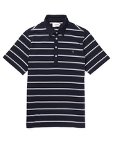 Farah Short Sleeve Jersey Polo Shirt with Yarn Dyed Stripe