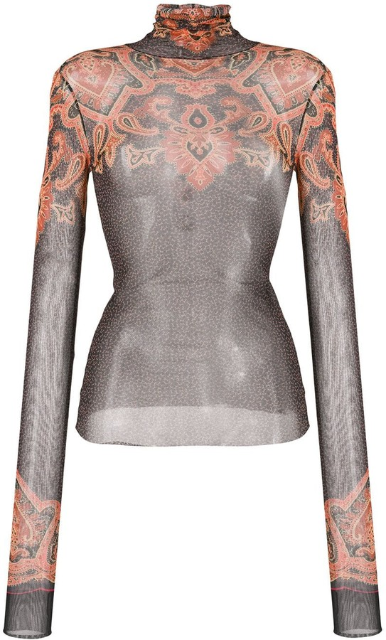 Etro sheer printed top