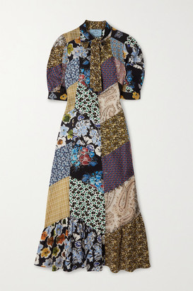 Prada Pussy-bow Patchwork Printed Silk-blend Crepe Midi Dress - Purple
