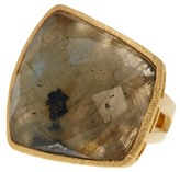 Rivka Friedman 18K Gold Clad Asymmetric Faceted Labradorite Bold Domed Ring