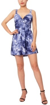 Derek Heart Tie-Dye Printed Twist-Front A-Line Dress