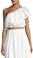 Miguelina Doris One-Shoulder Linen Crop Top, White