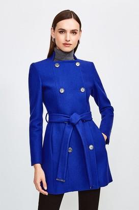Karen Millen Italian Wool Blend Military Belted Coat