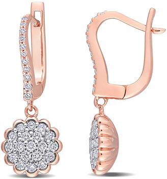 Diamond Select Cuts 14K Two-Tone 0.65 Ct. Tw. Diamond Leverback Earrings