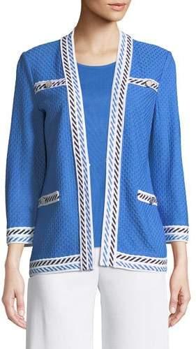 Misook Plus Size Contrast-Trim Textured Jacket