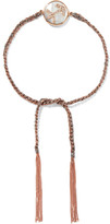 Carolina Bucci Sagittarius Lucky Zodiac 18-karat Rose Gold, Diamond, Mother-of-pearl And Silk Bracelet - one size