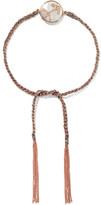Carolina Bucci Sagittarius Lucky Zodiac 18-karat Rose Gold, Diamond, Mother-of-pearl And Silk Bracelet