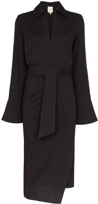 Margherita Usisi pinstriped wrap midi dress