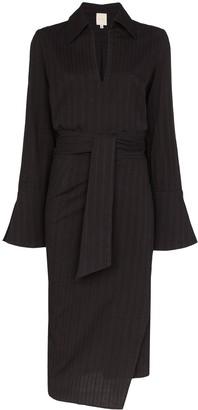 Margherita USISI pinstriped wrap midi dress