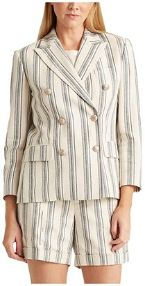 Lauren Ralph Lauren Petite Striped Linen Twill Blazer (Cream Multi) Women's Clothing